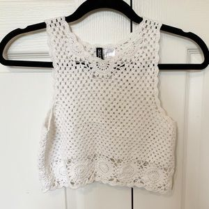 H&M White Crochet Crop top size S